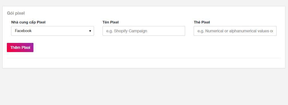 Hệ thống web link rút gọn cho phép thêm pixel của bạn. Ví dụ Pixel Facebook