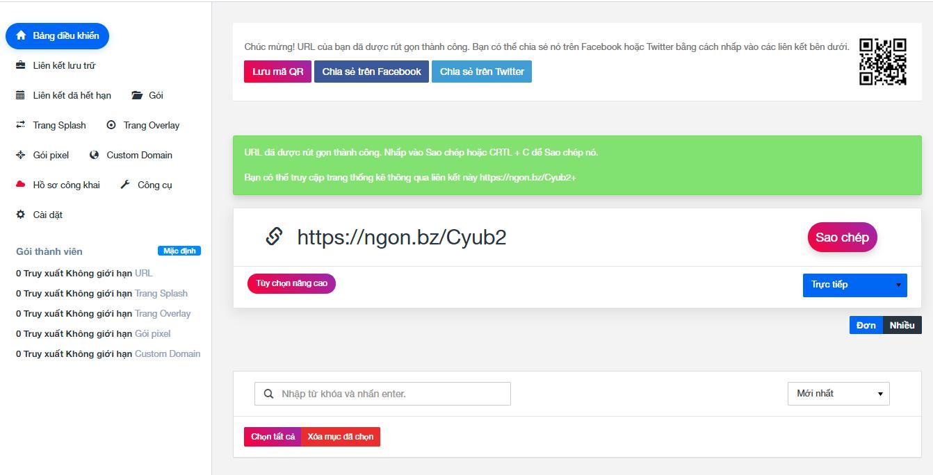 Bảng điều khiển của một trang web rút gọn link