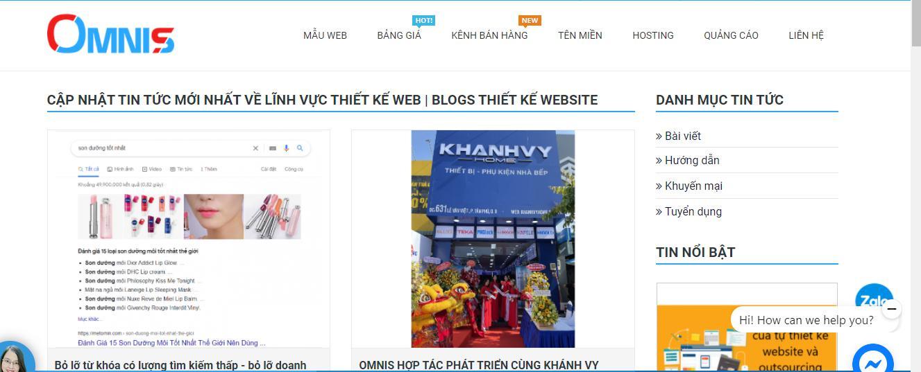 Website500k của OMNIS luôn cập nhật những nội dung hữu ích cho khách hàng