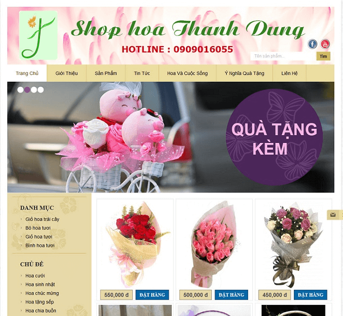 Đầu tư về phần nhìn và phần đọc trên website hoa tươi