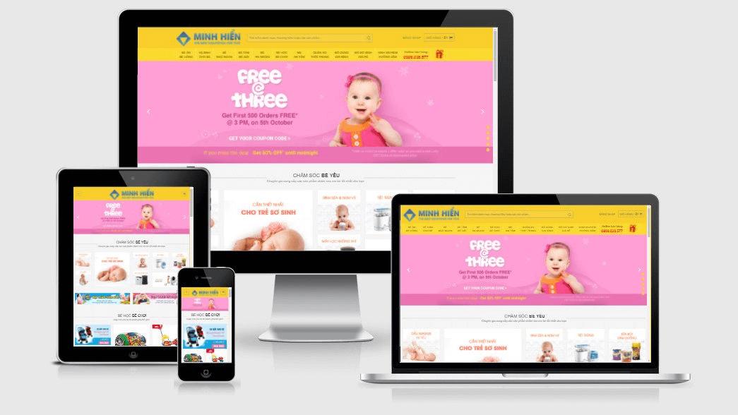 Website mẹ và bé tương thích với các thiết bị di động