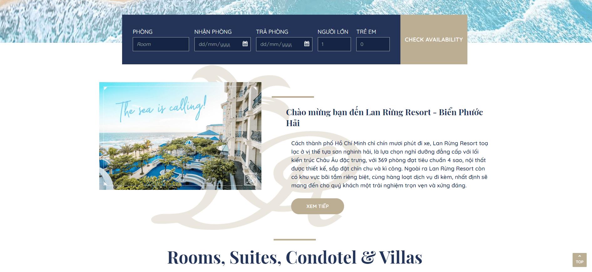 Website nhà hàng khách sạn hài hòa